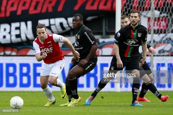 Beerens (AZ Alkmaar) en Gravenberch (NEC Nijmegen)